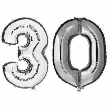 30 jaar leeftijd helium/folie ballonnen zilver feestversiering prijs