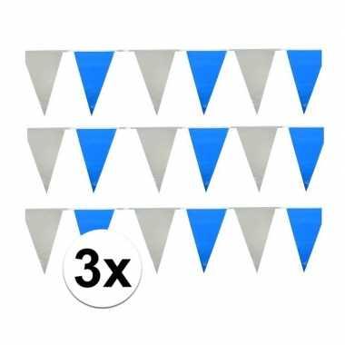 30 meter lichtblauw witte vlaggenlijnen prijs