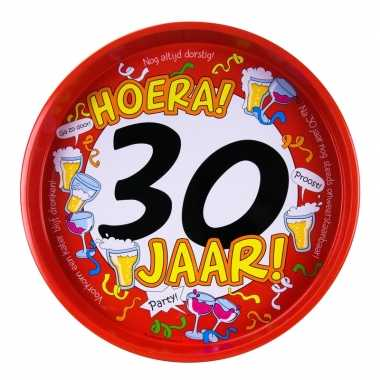 30ste verjaardag metalen dienblad 30 cm prijs