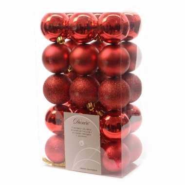 30x kunststof kerstballen mix kerst rood 6 cm kerstboom versiering/de
