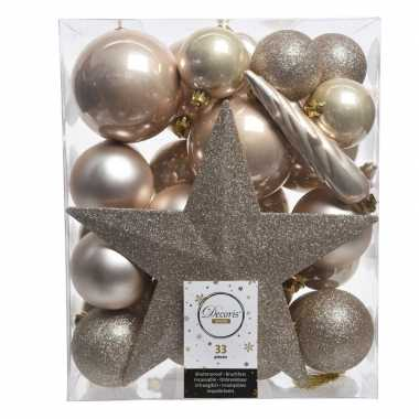 33x kunststof kerstballen mix champagne 5-6-8 cm kerstboom versiering