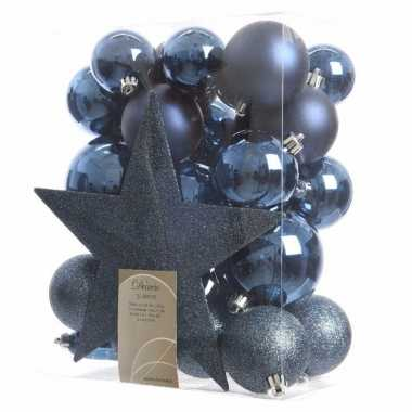 33x kunststof kerstballen mix donkerblauw 5-6-8 cm kerstboom versieri