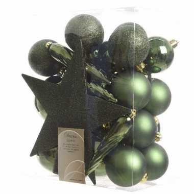 33x kunststof kerstballen mix donkergroen 5-6-8 cm kerstboom versieri