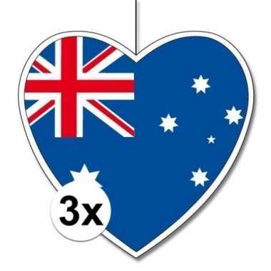 3x australie hangdecoratie harten 28 cm prijs