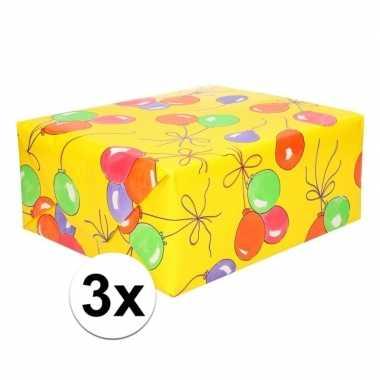 3x ballonnen cadeaupapier 70 x 200 cm prijs
