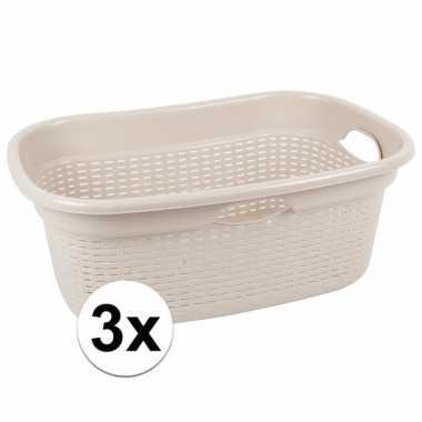 3x beige kunststof wasgoed manden 45 liter prijs