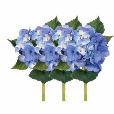 3x blauwe hortensia kunstbloemen met steel 48 cm prijs