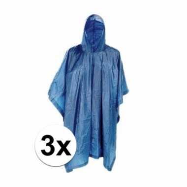 3x blauwe regencape met capuchon voor volwassenen prijs