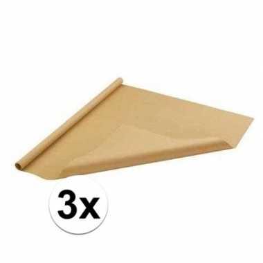 3x bruin cadeaupapier 70 x 500 cm prijs
