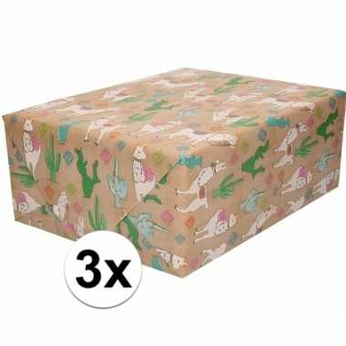 3x bruin cadeaupapier alpaca print 70 x 200 cm prijs