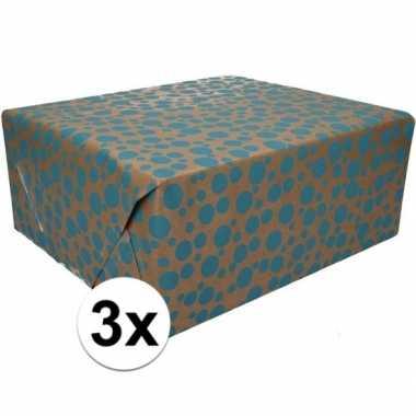 3x bruin cadeaupapier blauwe stippen print 70 x 200 cm prijs