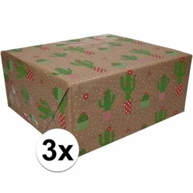 3x bruin cadeaupapier cactus print 70 x 200 cm prijs