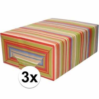 3x bruin cadeaupapier gekleurde strepen 70 x 200 cm prijs
