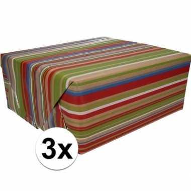 3x bruin cadeaupapier gekleurde strepen print 70 x 200 cm prijs