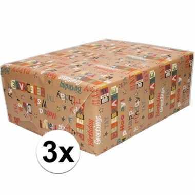 3x bruin cadeaupapier happy birthday tekst print 70 x 200 cm prijs