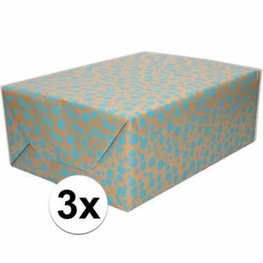 3x bruin cadeaupapier met blauwe stippen print 70 x 200 cm prijs