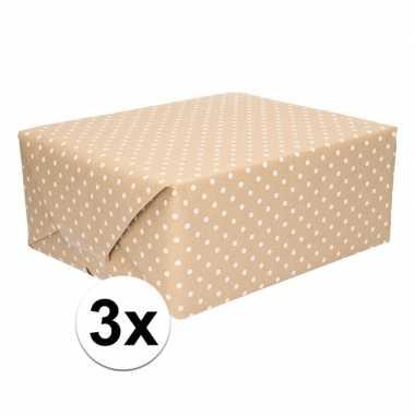 3x bruin cadeaupapier met witte stip 70 x 200 cm prijs