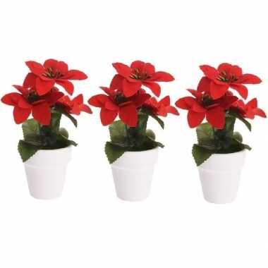 3x budget kunstplanten rode poinsettia bloem met pot 16 cm prijs