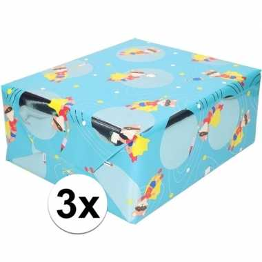 3x cadeaupapier blauw met vos met masker 200 cm prijs