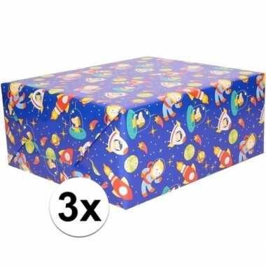 3x cadeaupapier blauw ruimte thema 200 x 70 cm prijs