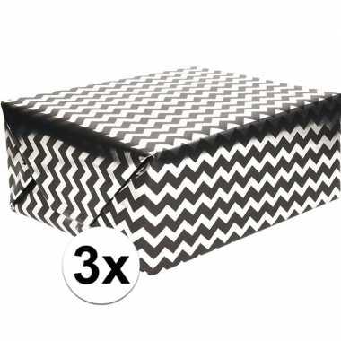 3x cadeaupapier chevron zwart met zilver 70 x 150 cm prijs