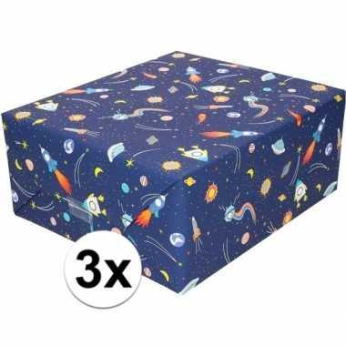3x cadeaupapier donkerblauw met raketten 200 cm prijs