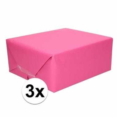 3x cadeaupapier fuchsia roze 70 x 200 cm kraftpapier prijs