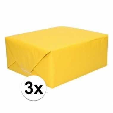 3x cadeaupapier geel 70 x 200 cm kraftpapier prijs