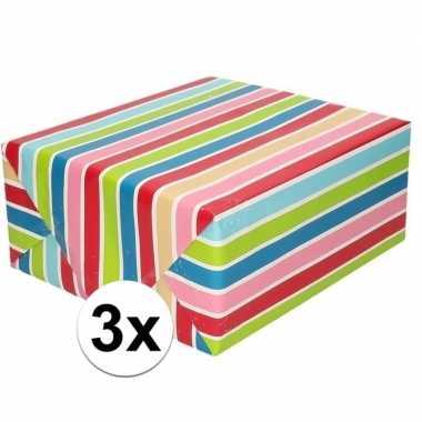 3x cadeaupapier gekleurde streepjes 200 cm per rol prijs