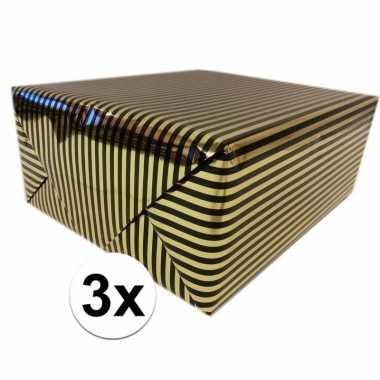 3x cadeaupapier gemetaliseerd goud en zwart gestreept 150 cm per rol