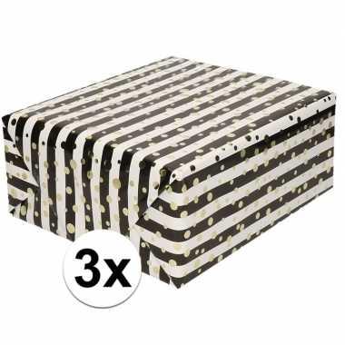 3x cadeaupapier gemetaliseerd wit en zwart gestreept met gouden stipp