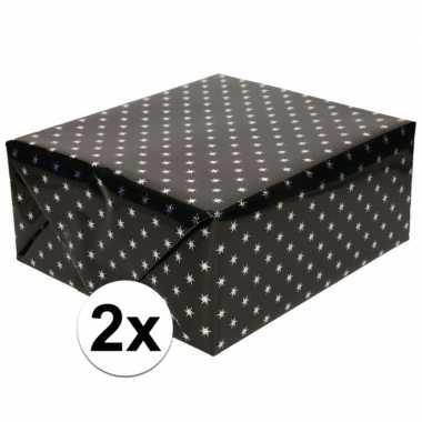 3x cadeaupapier holografisch zwart met zilveren sterretjes print 150