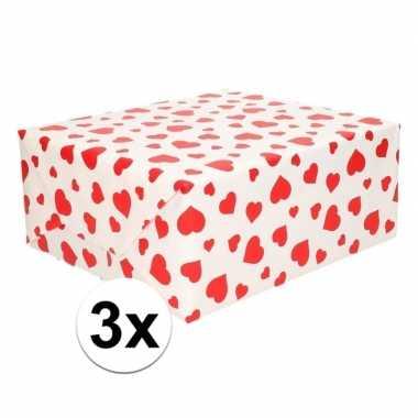 3x cadeaupapier met rode hartjes opdruk 70 x 200 cm prijs
