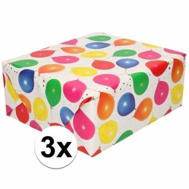 3x cadeaupapier metallic wit met ballonnen en sterren 150 cm prijs