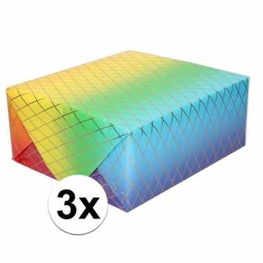 3x cadeaupapier regenboog kleuren en grafische print 200 cmper rol pr
