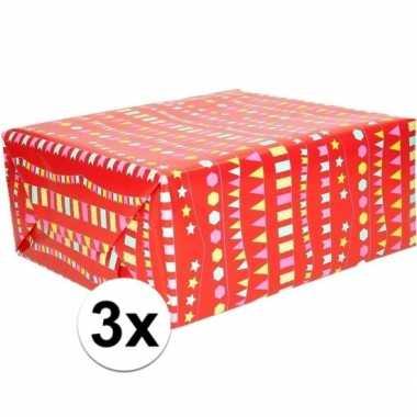 3x cadeaupapier rood met vlaggenlijnen 200 x 70 cm prijs
