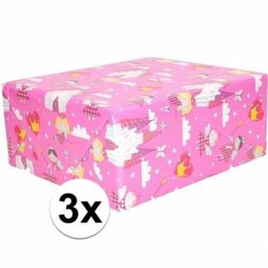 3x cadeaupapier roze elfjes thema 200 x 70 cm prijs
