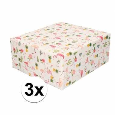 3x cadeaupapier tropische print 200 cm per rol prijs