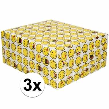 3x cadeaupapier wit met funny faces 200 cm prijs