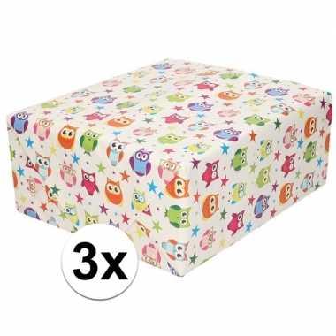 3x cadeaupapier wit met gekleurde uiltjes 200 cm prijs