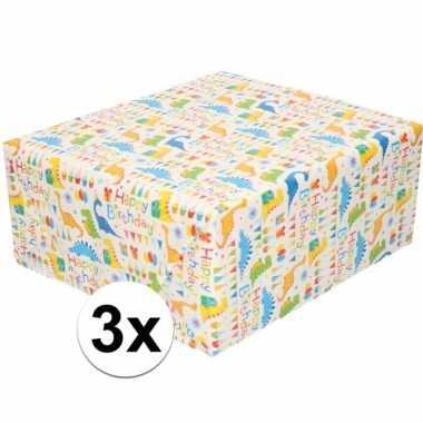 3x cadeaupapier wit met happy birthday 200 cm per rol prijs