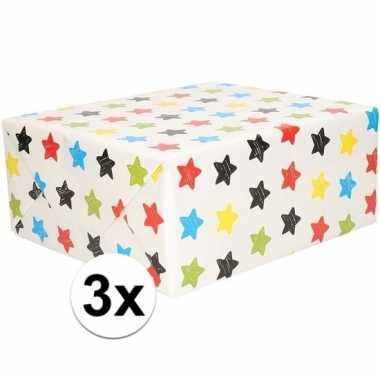 3x cadeaupapier wit met sterren 200 x 70 cm prijs