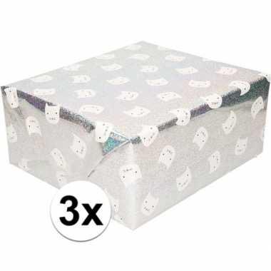 3x cadeaupapier zilver glitter met witte kat 200 cm prijs