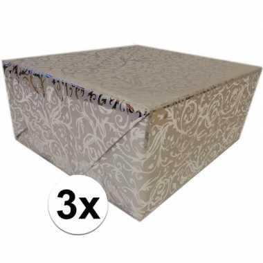 3x cadeaupapier zilver metallic met klassieke print 150 cm per rol pr
