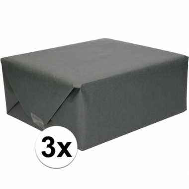 3x cadeaupapier zwart 70 x 200 cm kraftpapier prijs