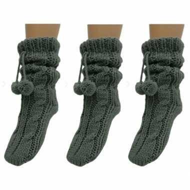 3x dames sokken voor in huis antracietgrijs prijs
