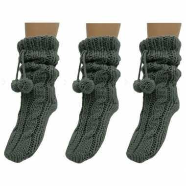 3x dames sokken voor in huis donkergrijs prijs