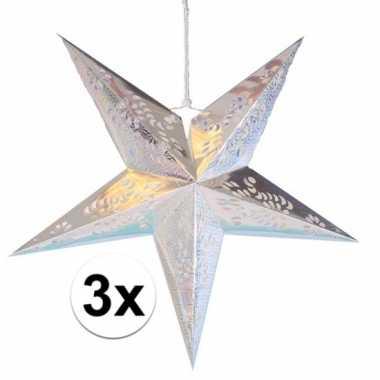 3x decoratie kerst sterren zilver 60 cm prijs
