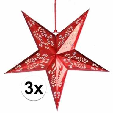 3x decoratie kerstster rood van 60 cm prijs