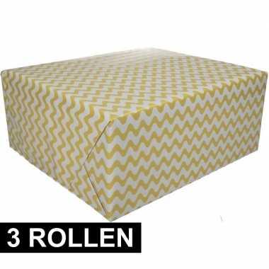 3x geel cadeaupapier met grafische print 70 x 200 cm prijs